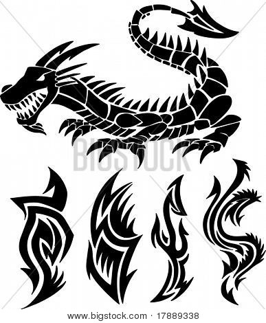 Dragon Icon Vector Set