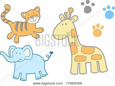 Cute safari Set Vector Illustration