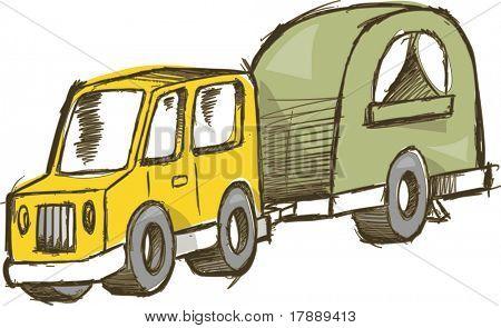 Truck and Camper Vector Illustration