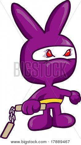Purple Bunny Ninja Vector Illustration