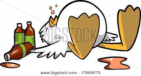 Drunk Passed out Chicken Vector Illustration