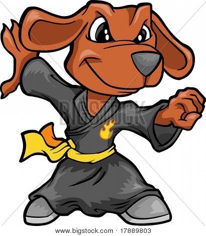 Kung Fu Dog Vector Illustration