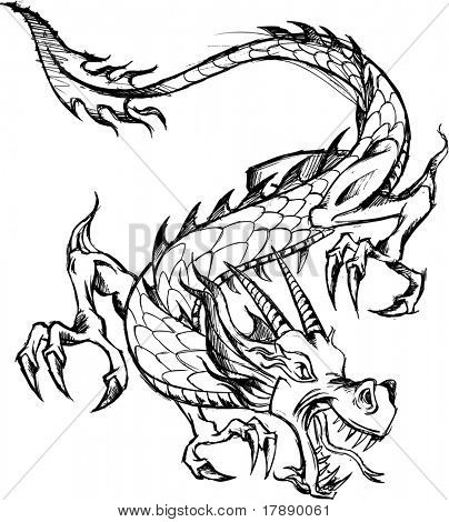 Sketchy Dragon Vector Illustration