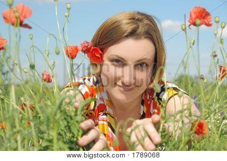Girl Among Poppy Flowers