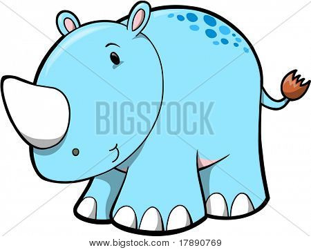 Blue Rhino Vector Illustration
