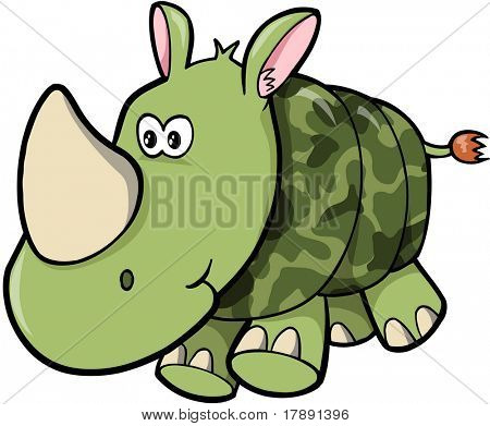 Camo Rhino Vector Illustration