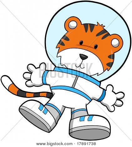 Tiger Astronaut Vector Illustration