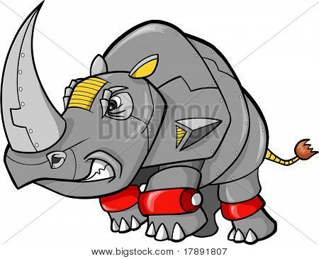 Robot Rhino Vector Illustration