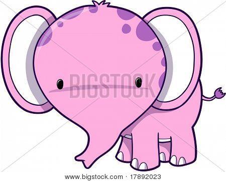 Cute Pink Elephant Vector Illustration