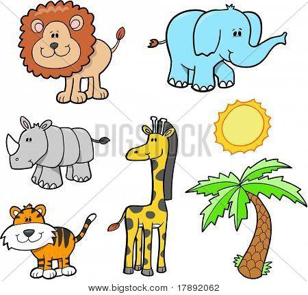 Ilustração em vetor de conjunto animais cute Safari