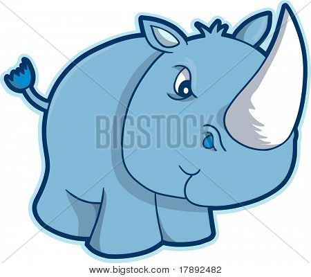 Safari Rhino Vector Illustration