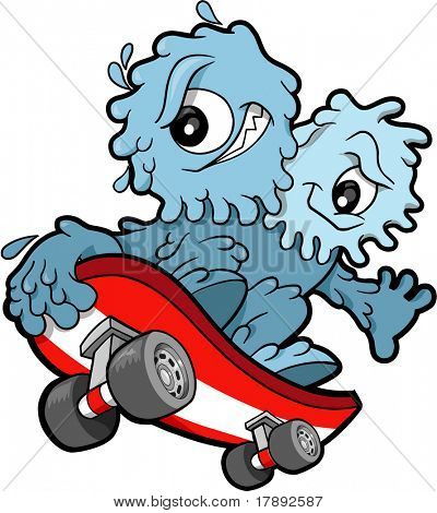 Skateboarding Booger Vector Illustration