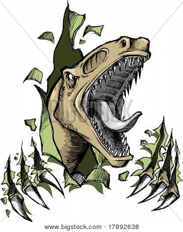 Sketchy Raptor dinosaur Vector Illustration