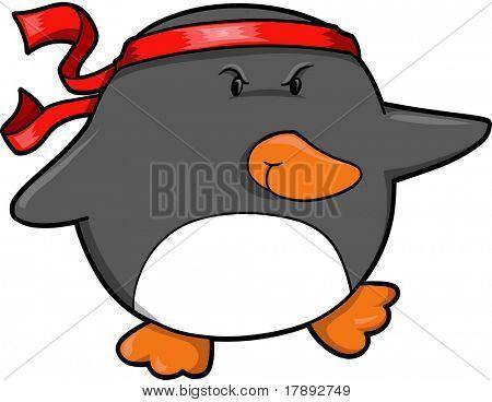 Ilustração em vetor pinguim guerreiro