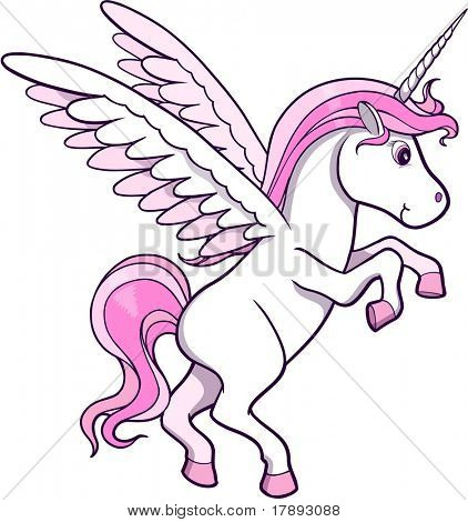 Pretty Unicorn Pegasus Vector Illustration