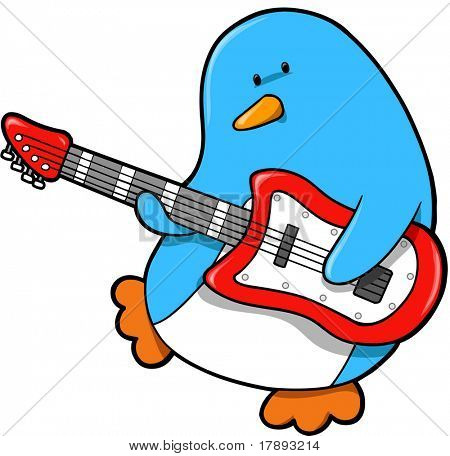 Rocker Penguin Vector Illustration