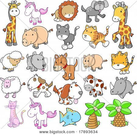 Giant Animal Set Vector Illustration