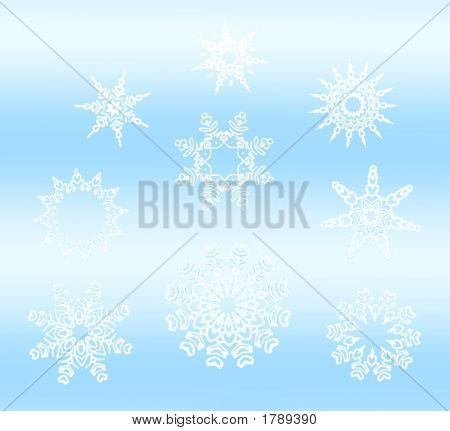 White Star Snowflakes Collection On Light Blue Gradient