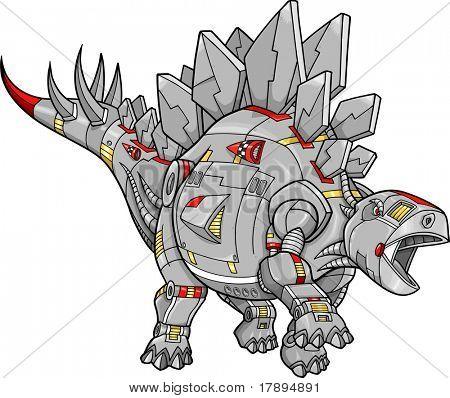 Robot Stegosaurus Dinosaur Vector Illustration