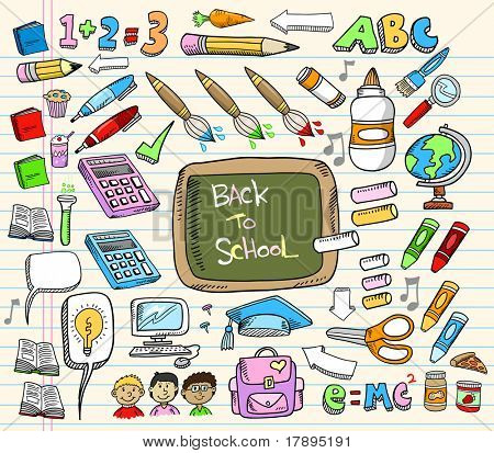Back to School Doodle Bildung-Vektor-Illustration-Set