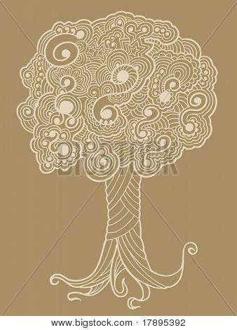 Sketch Henna doodle Tree vector