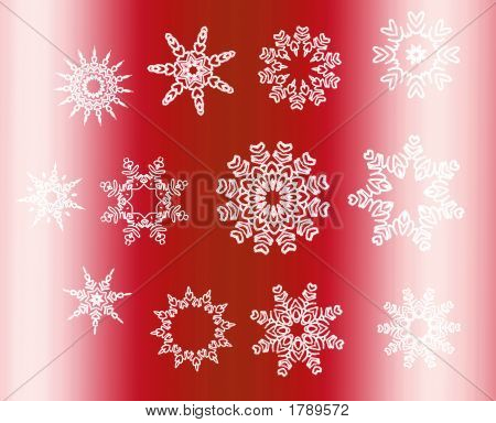 Silver Star Snowflakes Collection Over Red Gradient