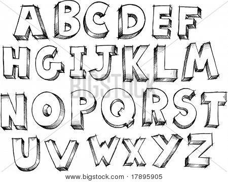 Ilustración de Vector de letras alfabeto incompleto