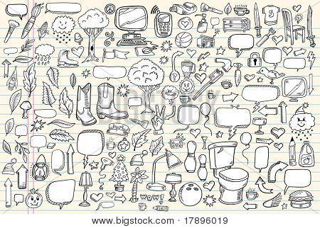 Notebook Doodle clipart ilustração Design elementos Mega Vector Set