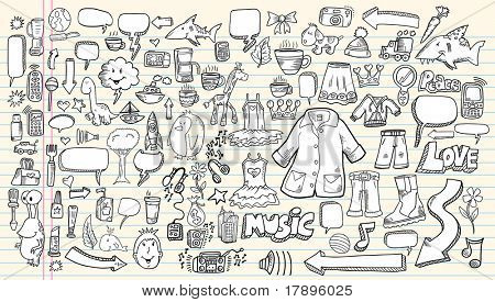 Notebook sketch Doodle Clip art Design Elements  Vector Illustration Set with music flowers cameras business speech bubbles tools