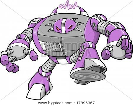 Evil Big Robotic Warrior Vector Illustration