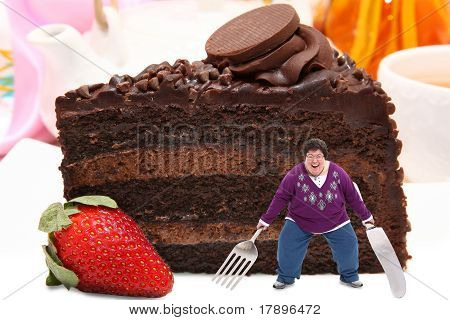 Woman On Giant Plate Of Chocolate Cake