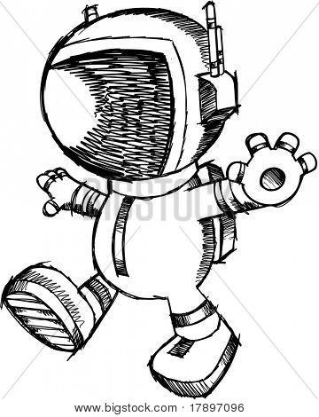 Sketch doodle Astronaut Walking Vector Illustration
