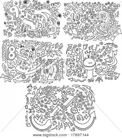 Doodle Skizze Vector Illustration set