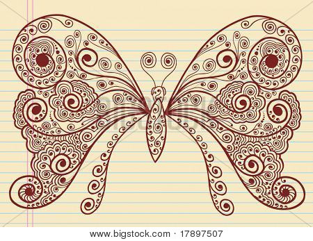 Doodle Henna Sketch Groovy Butterfly Vector Illustration