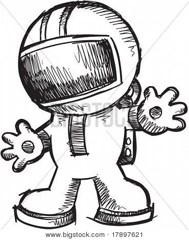 Sketch doodle Astronaut Walking Vector Illustration