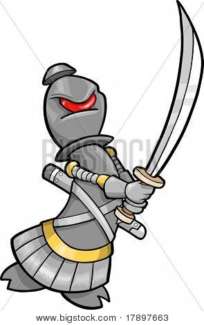 Ninja Cyborg Robotic Warrior Chess Bishop Vector Illustration