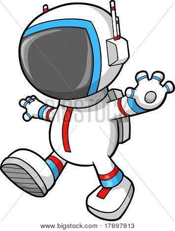 Astronauta caminando Vector Illustration