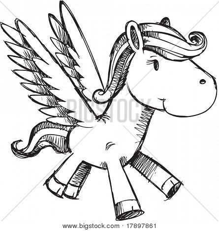 Sketchy Pegasus Vector Illustration