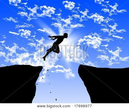 man jumping on the rocks