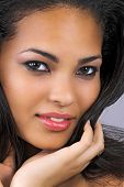 image of beautiful women  - beautiful woman with long black hair wearing make - JPG