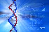 image of genetic engineering  - Creative blue abstract genetic engineering scientific concept - JPG