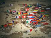 European Union map with flags of countries. Europe. 3d illustration poster