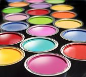 stock photo of gamma  - Opened paint buckets with various colors - JPG