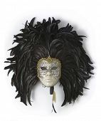 stock photo of fancy-dress  - Venice carnival mask with black feathers - JPG