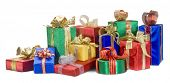 pic of christmas-present  - A bright pile of Christmas presents - JPG