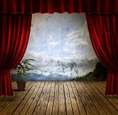 image of comedy  - Small stage with red velvet theater curtains - JPG