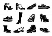 Shoes Set Of Vector Flat Icons. Black Sandals, Boots, Low Shoe, Ballet Slippers, High Boot, Gumshoes poster