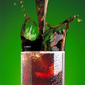 Pouring A Cola In Glass With A Splash