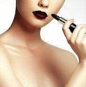 Постер, плакат: Fashion And Beauty Beautiful Young Woman With Wine Lipstick
