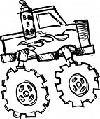 image of monster-truck  - sketch of Monster Truck Vector Illustration - JPG